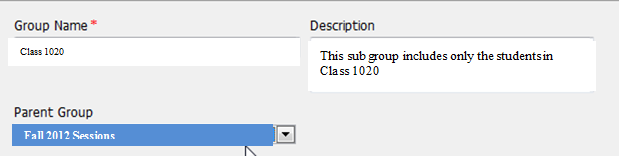 4. Select the Parent Group from the drop down list of all available groups 5.