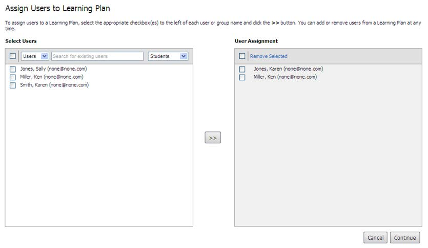 Assign Existing Users to a Learning Plan If users already have accounts set up in IT Academy E-Learning Central, you can assign a Learning Plan directly. Assign existing users to a Learning Plan: 1.