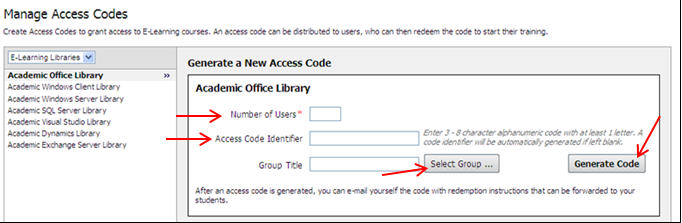 9. The newly generated access code will display in the table at the bottom of the screen 10.