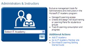 Instructors Accessing Multiple IT Academy Sites If you have administrative rights to more than one Microsoft IT Academy organization, you can access your academies either from the IT Academy