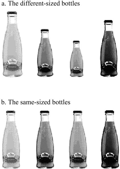 474 JOURNAL OF CONSUMER RESEARCH FIGURE 3 STUDY STIMULI BEVERAGE BOTTLES figures ( Mdiff p 5.80, Msame p 4.31; F(1, 75) p 6.3, p!