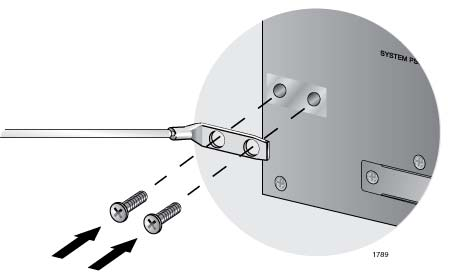 Install the grounding lug on the rear panel of the chassis, as shown in Figure 42. Allied Telesis recommends tightening the screws to 20 inch-lbs. Figure 42. Installing the Grounding Lug and Wire 5.