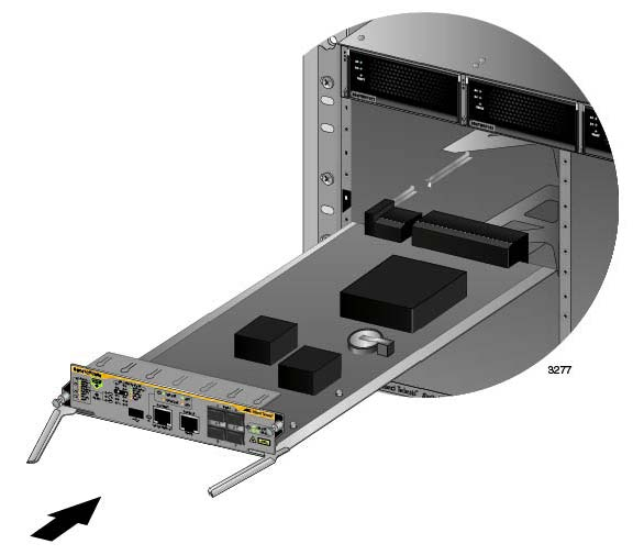 SwitchBlade x8112 Chassis Switch and AT-SBx81CFC960 Card Installation Guide Figure 70. Aligning the AT-SBx81CFC960 Card in the Chassis Slot 7. Carefully slide the card into the slot.