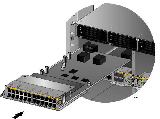 Chapter 7: Installing the AT-SBx81CFC960 Control Card and Ethernet Line Cards Figure 75. Aligning an Ethernet Line Card in a Chassis Slot 5. Carefully slide the card into the slot.
