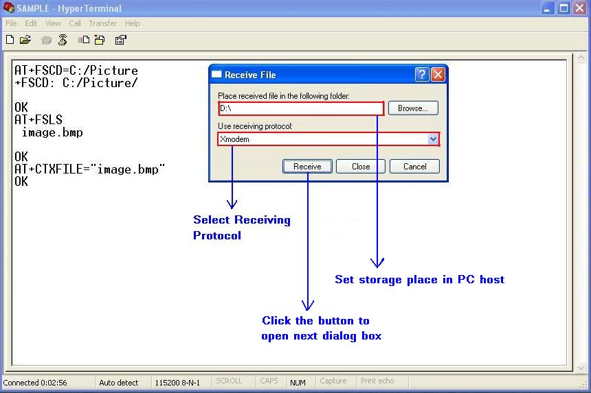 Figure 17-3 Open Receive File dialog box Step3.