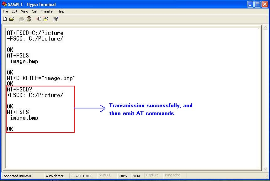 After transmission successfully, the receiving dialog box is closed and it can emit AT commands in HyperTerminal.
