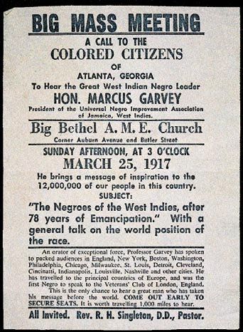 Advertisement for a 1917 Marcus Garvey speech. image that his black nationalist movement strove to convey.
