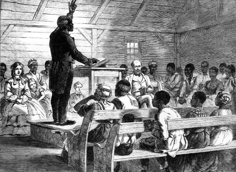 A drawing, circa 1860, depicts a black preacher addressing his mixed-race congregation on a South Carolina plantation.
