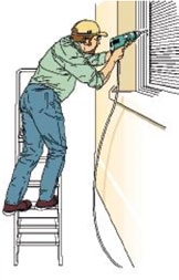 Where side-on loadings cannot be avoided, prevent the stepladder from tipping over by tying the steps to a suitable point, or use a more
