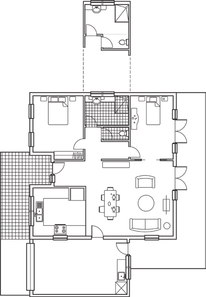 An example of adaptable house design partition wall removed Bedroom 2 living/dining adequate circulation space all internal doors and corridors accessible Laundry provision for dryer automatic