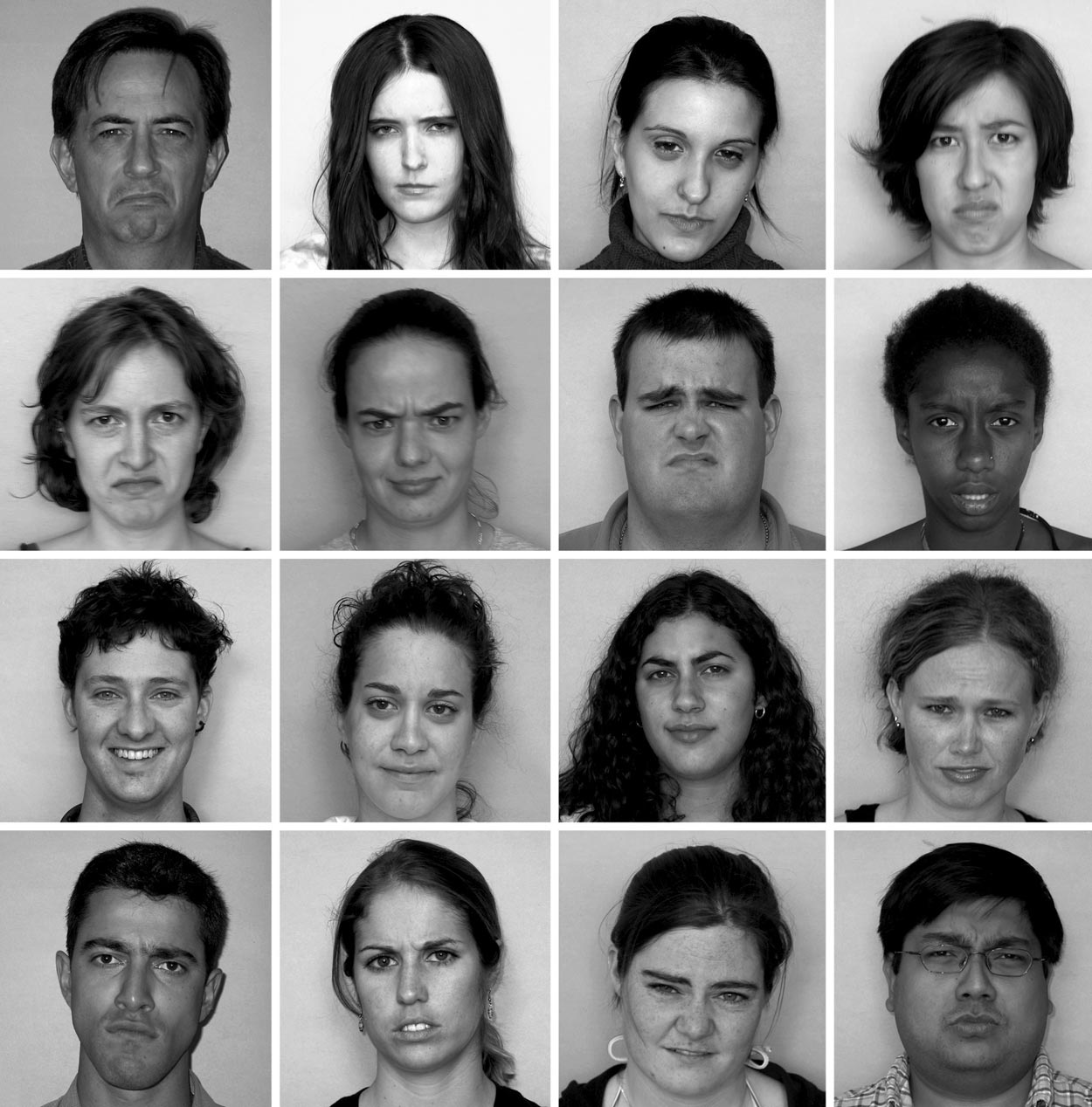 656 DANDENEAU ET AL. Figure 2. Picture grid with 15 rejecting and one accepting face. Participants in the experimental condition are instructed to identify the smiling person as quickly as possible.