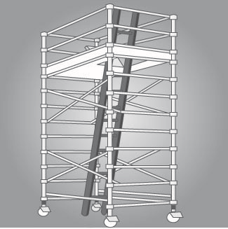 Figure 7: Mobile scaffold with an access ladder and trapdoor to provide the largest possible hazard-free working platform.
