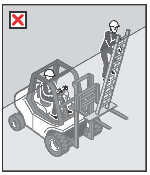 Figure 12: An example of an engineer-designed workbox with safety harness and lanyard assembly, correctly positioned on the forklift tynes.