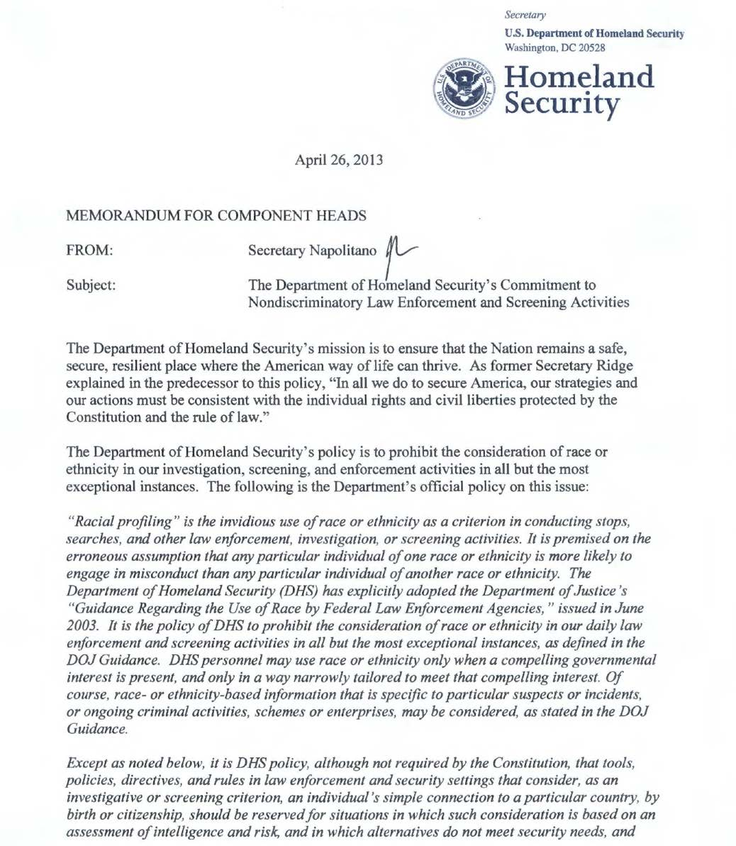 Appendix III: DHS Commitment to Nondiscriminatory Law Enforcement and Screening