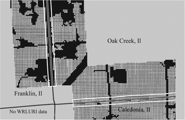LAND USE REGULATION AND WELFARE 1381 FIGURE 6. Illustration of NLCD data and 100 m buffers in two municipal border pairs. Cross-hatching indicates undeveloped land. Black indicates developed land.