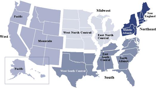 APPENDIX C Four Regions of the U.S. per the U.S. Census Bureau * *Note: The Northeast region contains the New England and Middle Atlantic subdivisions.