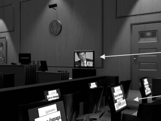 Part Four: Trial Plasma monitor behind witness stand for witness testimony by videoconference Small monitors in jury box for displays of exhibits Judges and lawyers with experience using