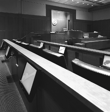 Part One: Courtroom Technology: An Overview Small monitors built into the jury box Some courtrooms have small flat panel monitors installed in the jury box, usually one for every two jurors.