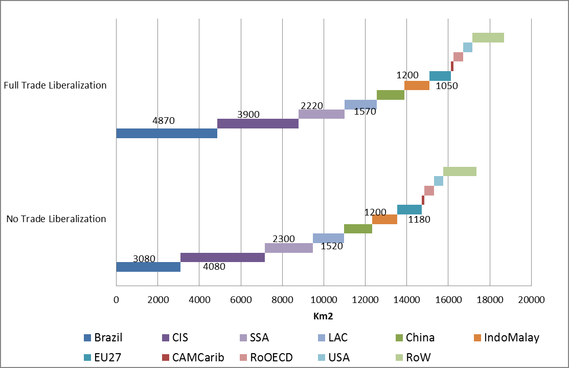 Figure 7 displays the regional breakdown of cropland extensions. The most affected regions in terms of cropland extension are Brazil, Latin America, CIS, and SSA.