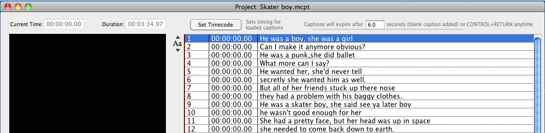 This is how the lyrics will import into MovieCaptioner: Text imported in line form will simply be separated by line. Each line will be a separate caption in the caption list.