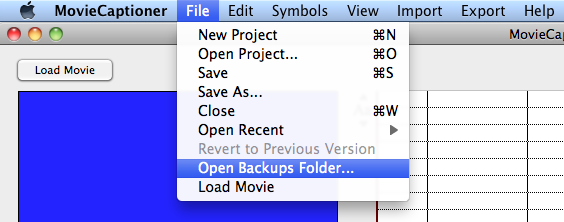 Backups Folder A Backups folder is now written to the ~user/library/application Support/MovieCaptioner folder.