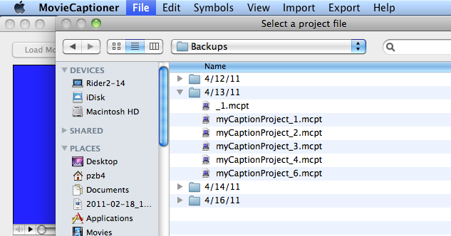 Open the folder with the date that you created the project and you will find up to ten project versions.
