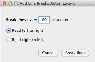 You can set it to put a line break where it can between words at whatever character-count you want.