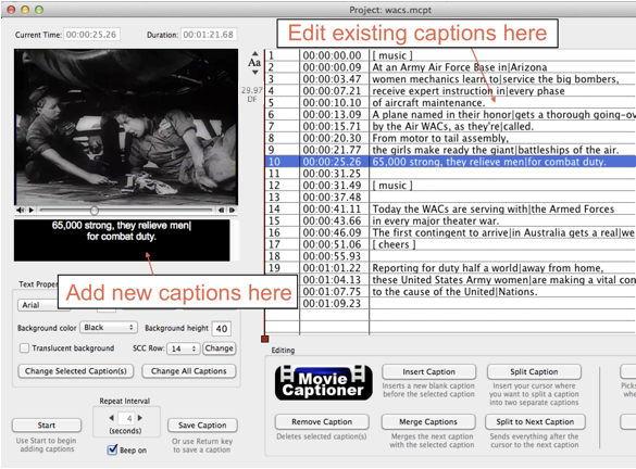 line break to even out your captions. The edit field where you type your new captions is not always an accurate representation of what you will see on your final captioned movies.
