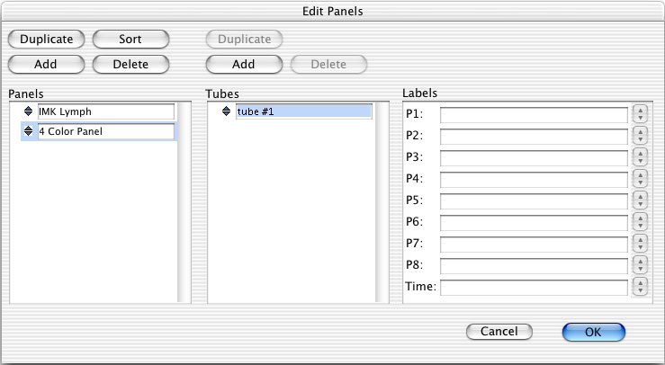 4 Click the selection icon to select the panel, and click Add above the Tubes list.
