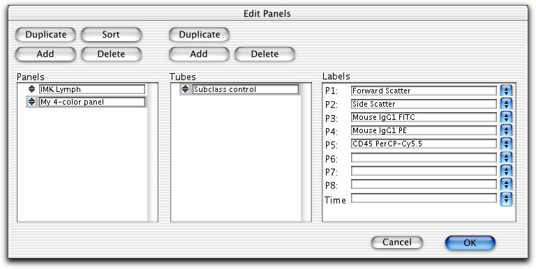 6 Click the selection icon to select the tube, and choose parameter labels.
