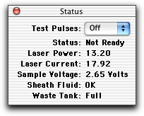 Checking Cytometer Status When you are connected to the cytometer, use the Status window to check cytometer status during acquisition. To access the window, choose Cytometer > Status.