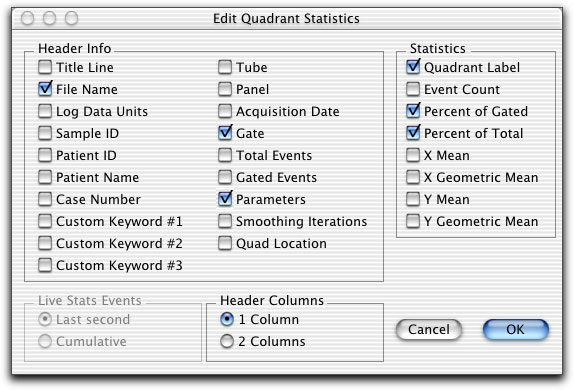 3 Deselect all choices except File Name, Gate, Parameters, Quadrant Label,