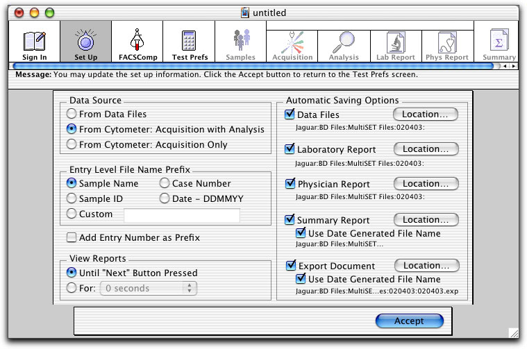 3 At the Set Up view, select a Data Source. Select From Data Files to analyze saved data files.