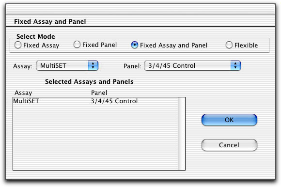 2 Assign an assay and panel to each sample, or assign a fixed assay or panel to all samples.