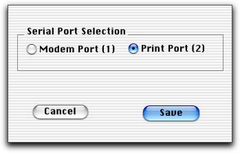 5 Verify Print Port (2) is selected; click Save. If you continue to have connectivity problems after checking all cable connections, contact your BD Biosciences service representative.