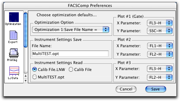 BD FACSComp Preferences Use Optimization to change preset choices for an optimization option.