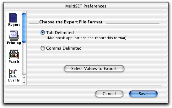 BD Multiset Preferences Use Export to specify delimiter types (Tab or Comma) for exported document files.