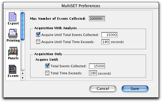 Use Events to customize acquisition stopping criteria, such as the maximum number of events