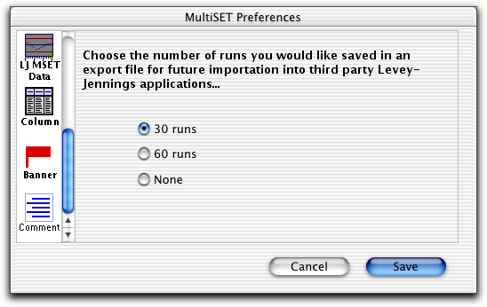 Use LJ MSET Data to set the number of BD Multiset runs to save in each Levey- Jennings file.