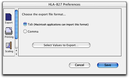 BD HLA-B27 Preferences Use Export to specify delimiter types (Tab or Comma) for exported document files.