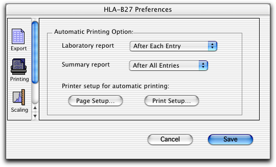 Use Printing to specify when to print reports: After Each Entry or After All Entries (automatic