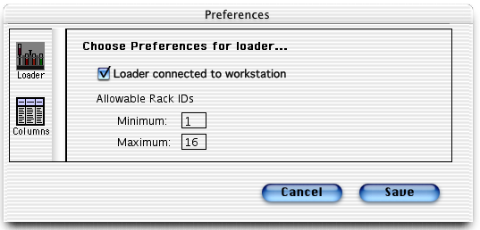 Worklist Manager Preferences Use Loader to disable communication between the Loader and computer workstation, and define allowable rack IDs.