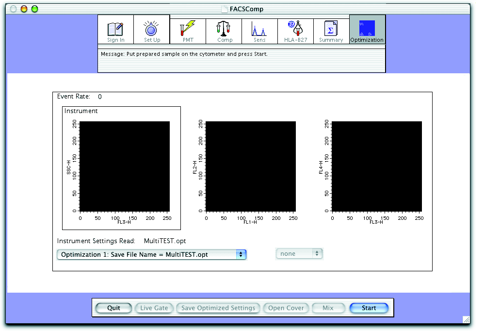 Figure 4-1 Optimization view plot axis optimization menu tube menu 4 Install the control sample on the SIP. For the Loader, choose the appropriate tube from the tube menu. 5 Click Start.