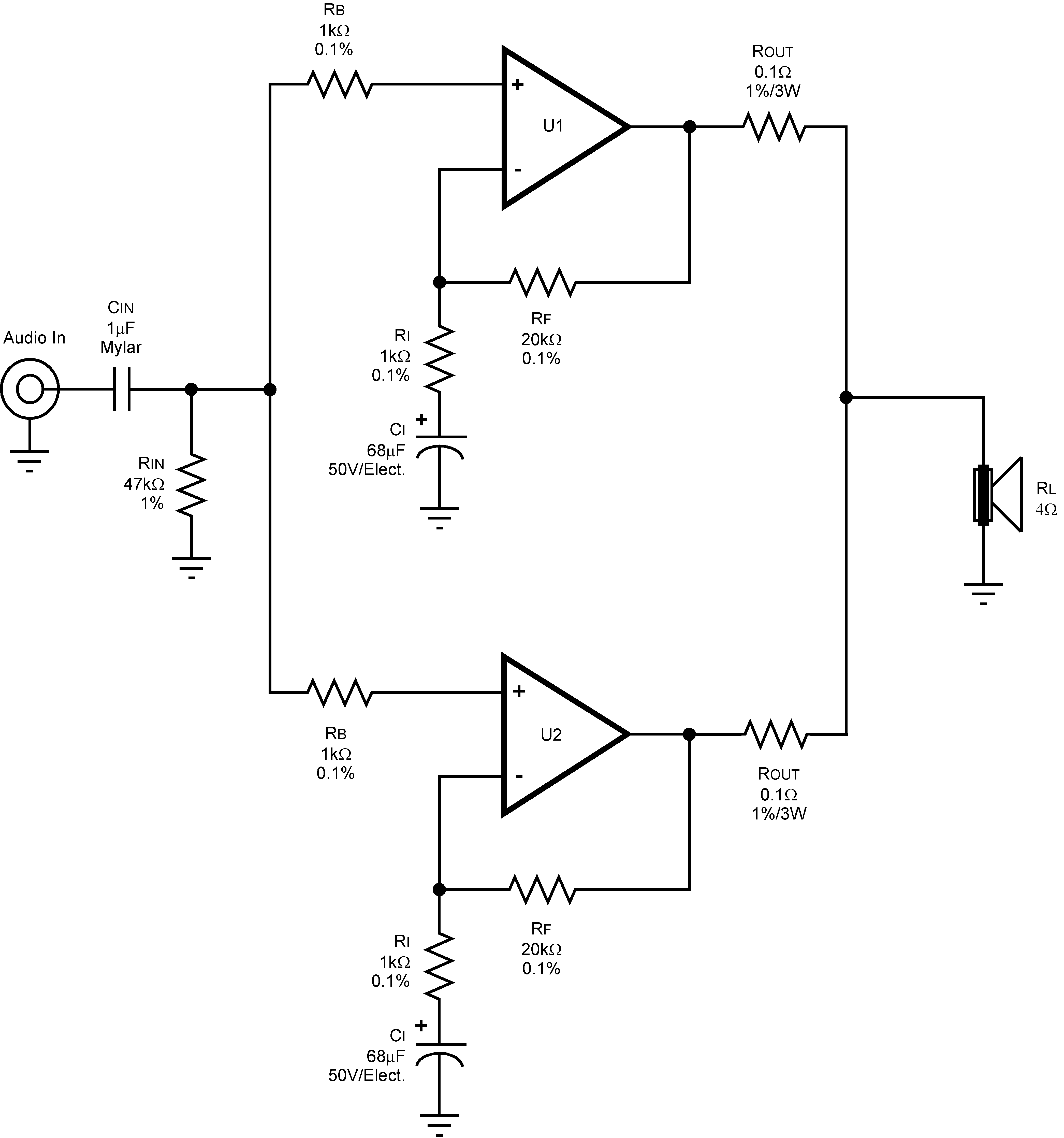 www.ti.com 6.2 Schematics PA100 100W Parallel Circuit 6.2.1 Parallel Amplifier Schematic Figure 6.