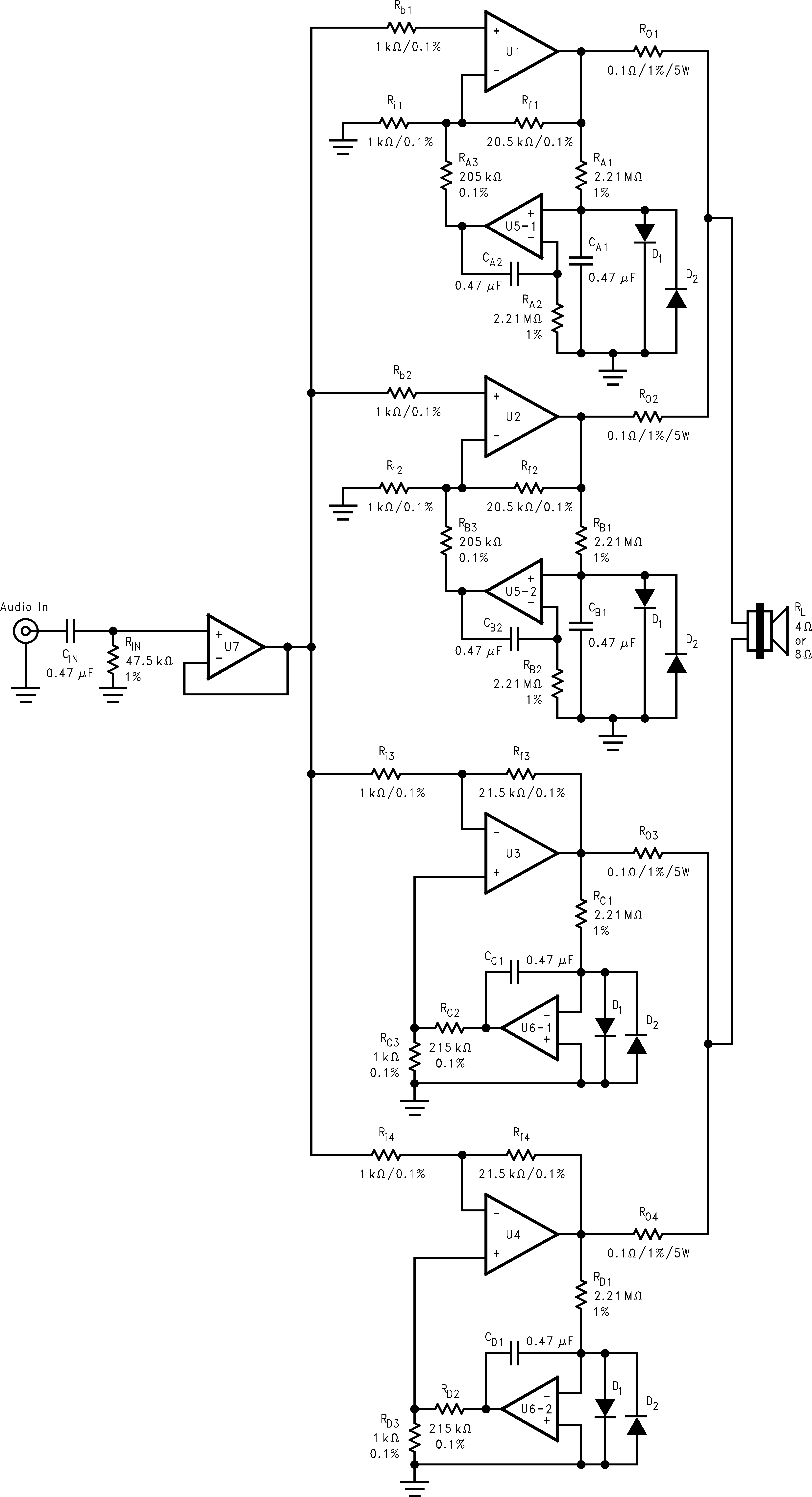 BPA200 200W Bridged/Parallel Circuit 7.2 Schematics www.ti.com 7.2.1 Detailed Bridged/Parallel Amplifier Schematic Figure 13.