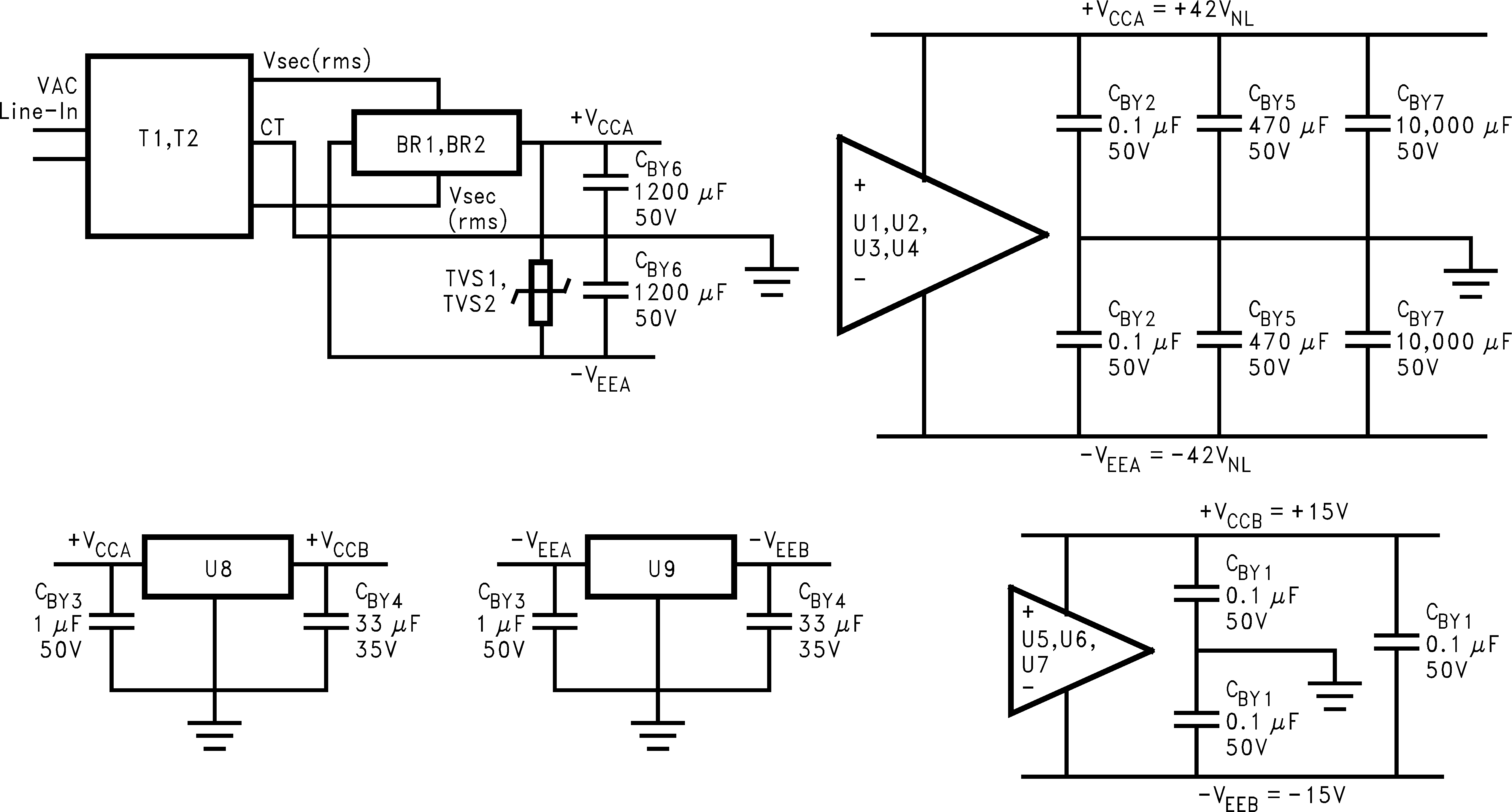 BPA200 200W Bridged/Parallel Circuit www.ti.com Figure 15. Inverting Servo Amplifier Schematic 7.2.3 Power Supply