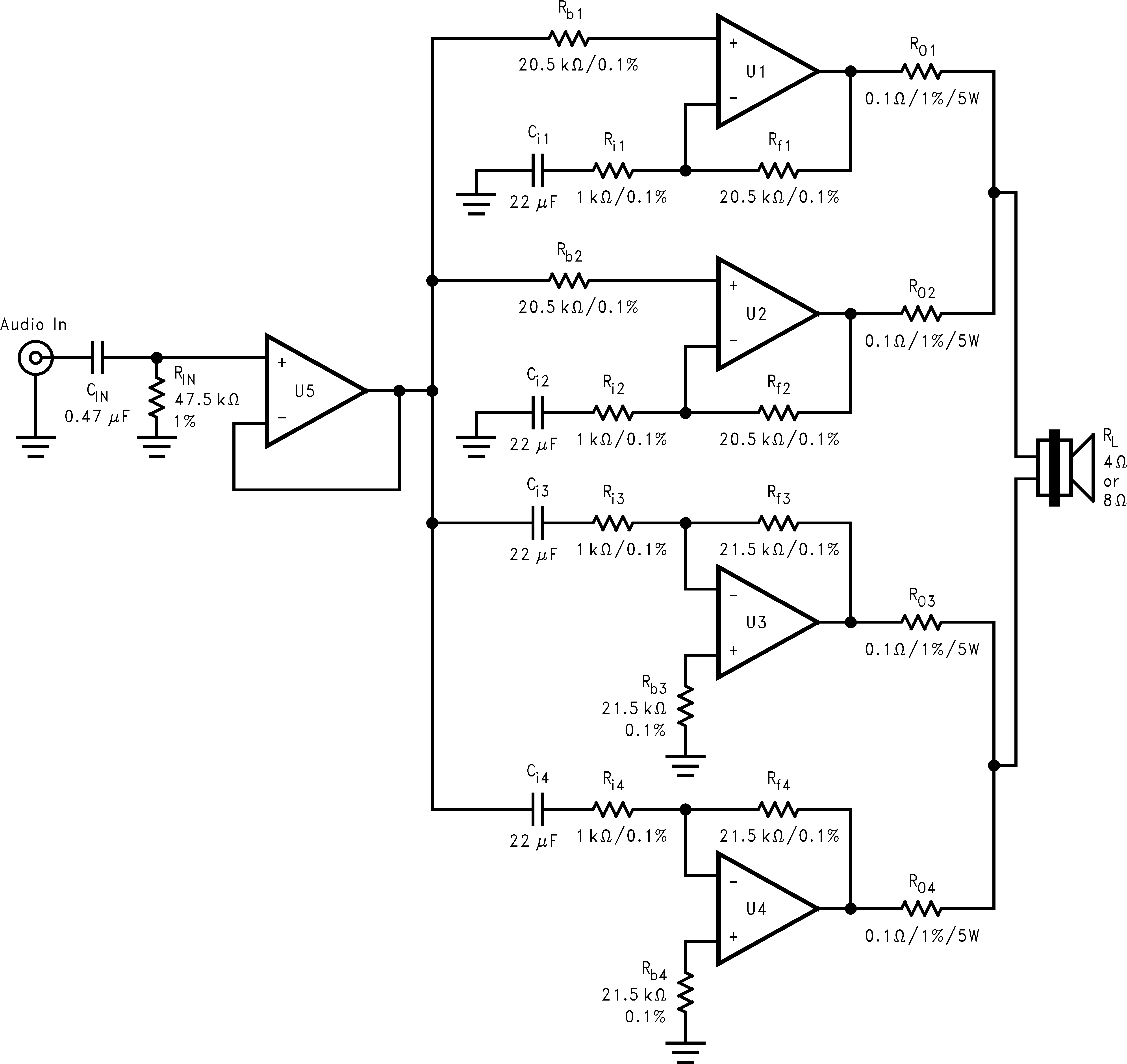 www.ti.com BPA200 200W Bridged/Parallel Circuit 7.2.4 Basic Bridged/Parallel Amplifier Schematic Figure 17.