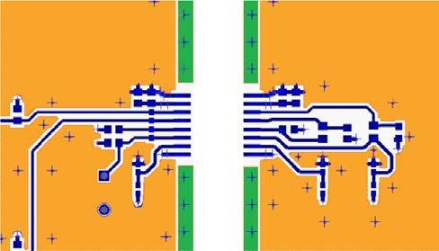 Application Note works well is to treat the edges of the board with a guard ring structure laced together by vias. The structure is shown in Figure 8 for a typical 4-layer board.