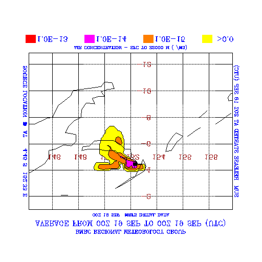 Figure 7 Simulation of the Rabaul volcanic eruption of 2000 UTC 18 September 1994 showing the vertical column-averaged snapshot air concentrations at 0030 UTC 19 September 1994.