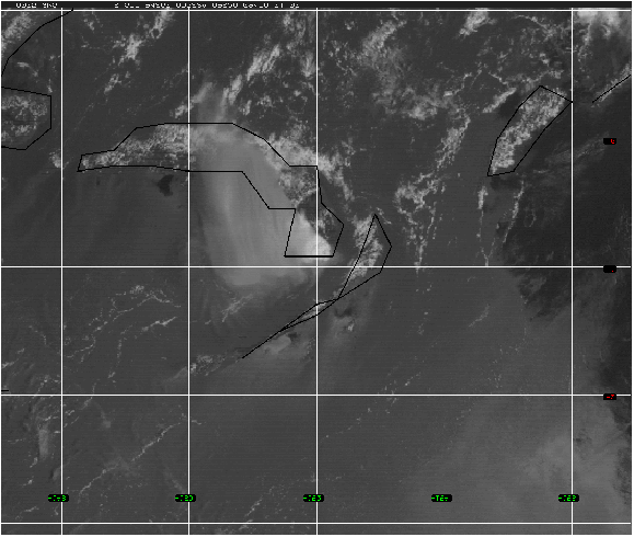 Figure 8 GMS VIS satellite photo for 0032 UTC 19 September 1994, a time that corresponds to the time of the simulation shown in Fig. 7. cloud domain.